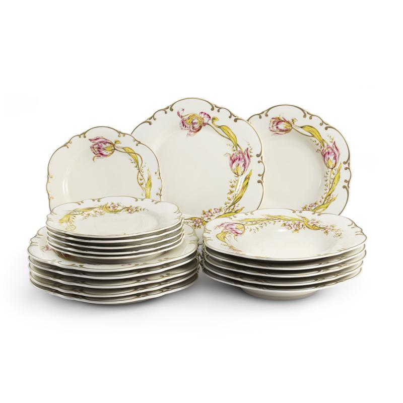 Plate set 18-piece Tulips