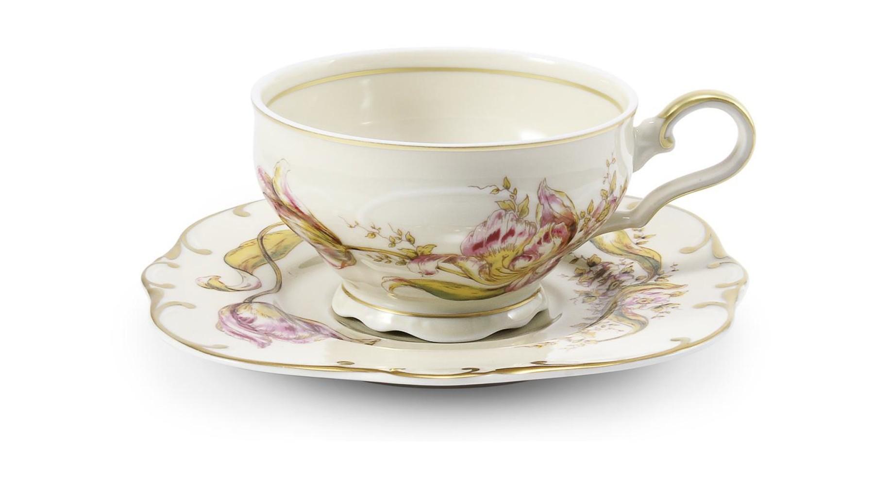 Tasse mit Untertasse Tulpen