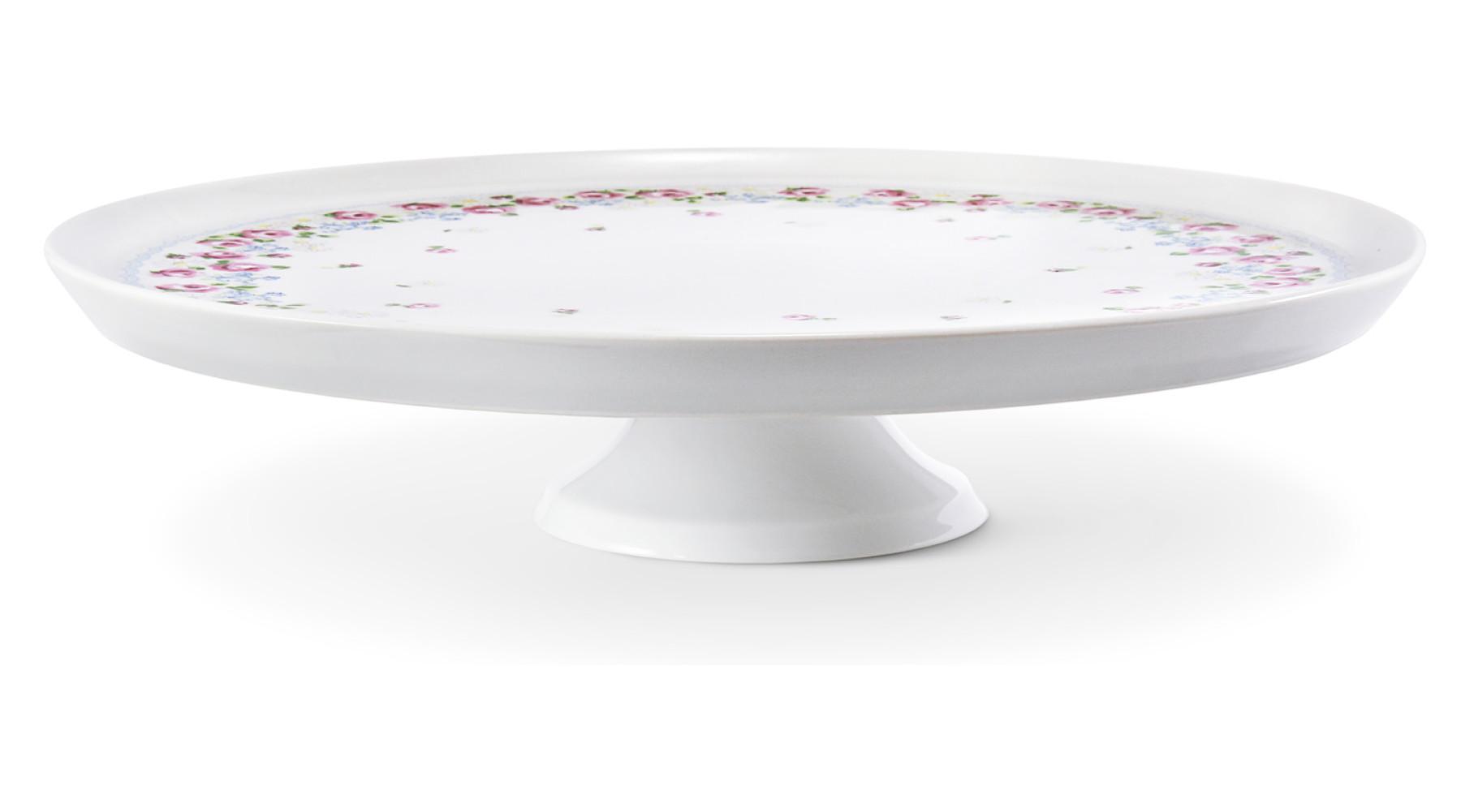 Dortový talíř 28 cm na nožce RoseLine