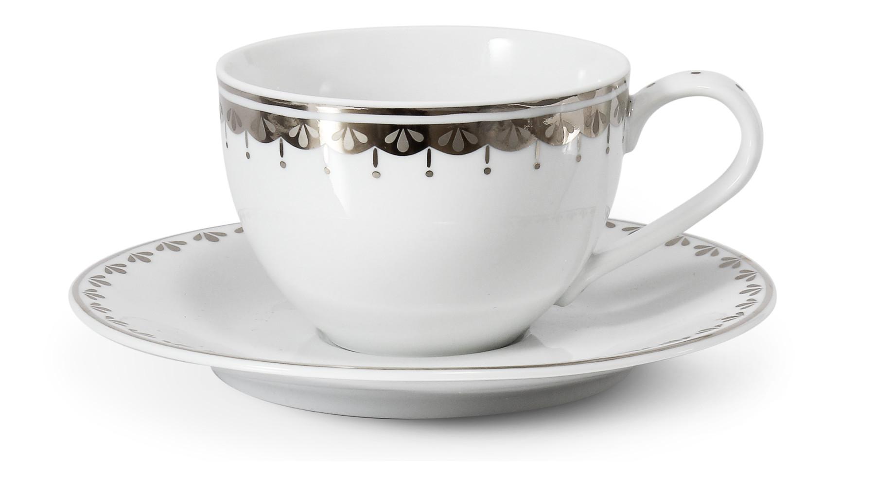 Tasse mit Untertasse 0,20 l HyggeLine Platin var.2
