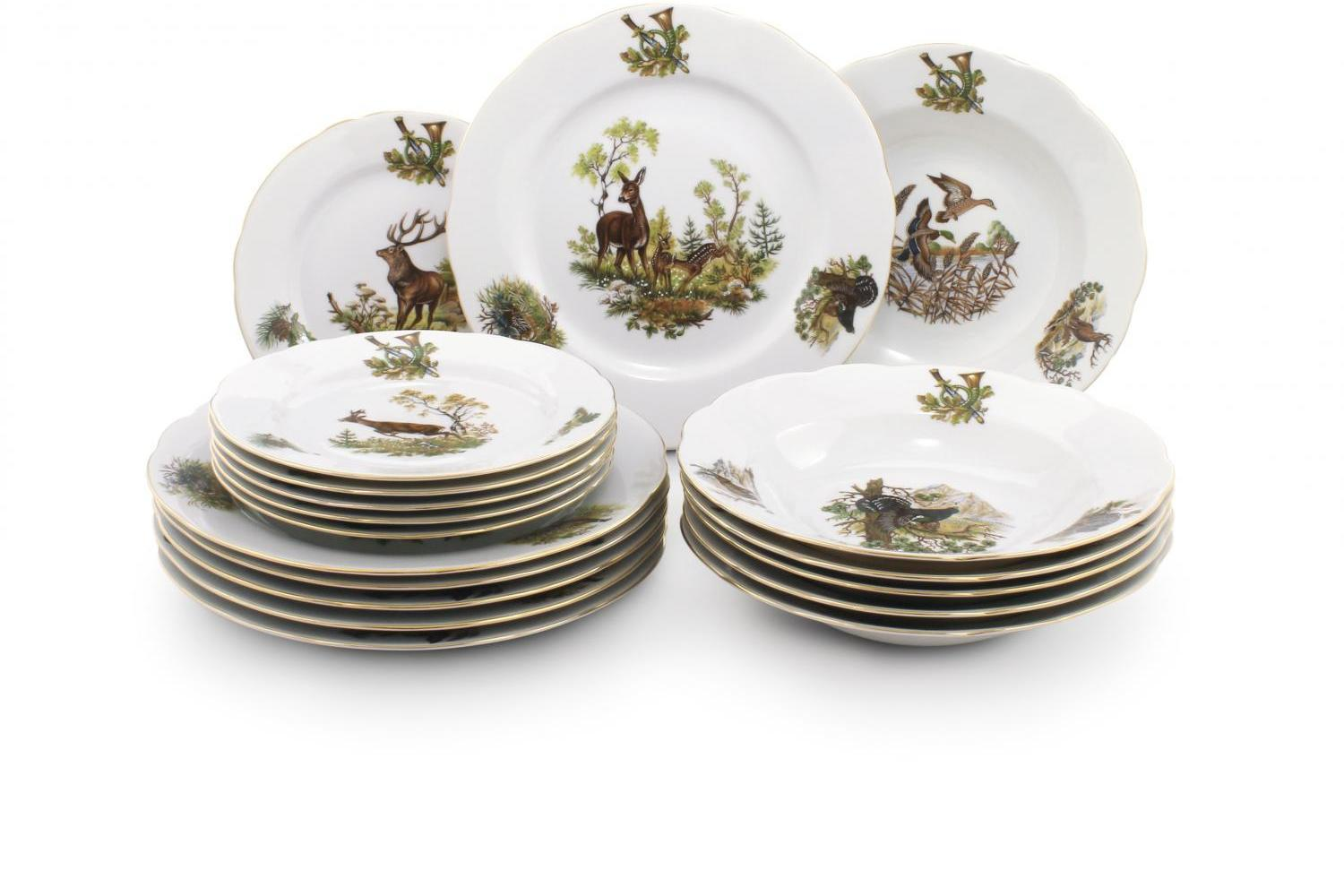Plate set 18-piece - Hunting motives