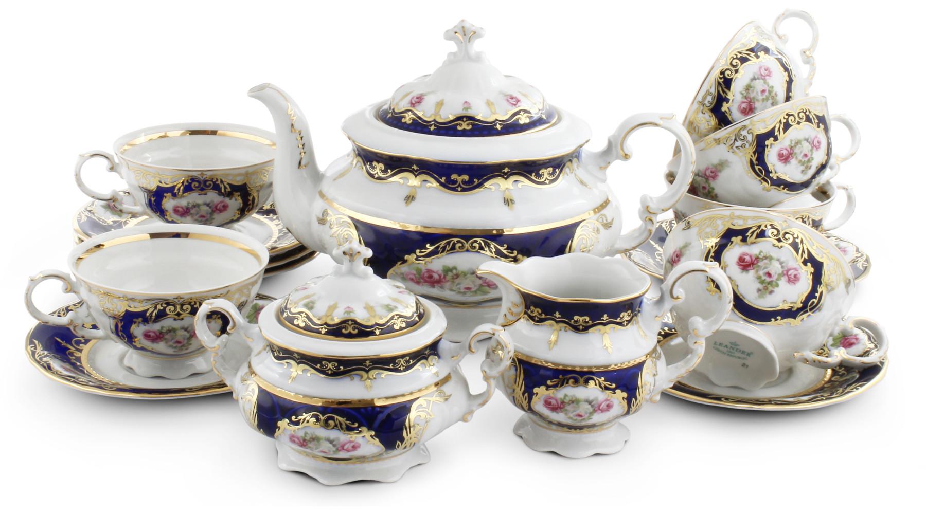 Tea set 15-piece - Cobalt and rose