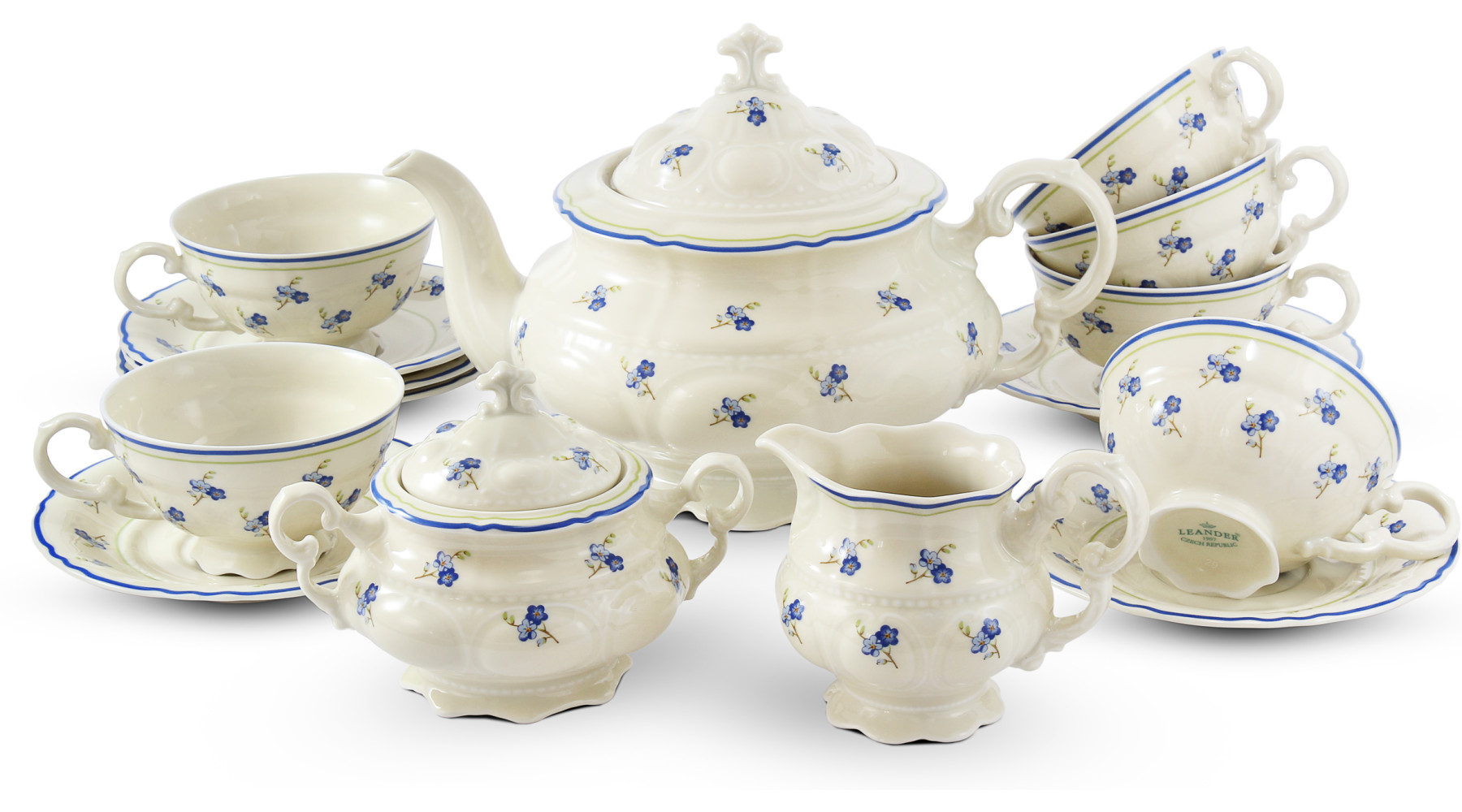 Tea set 15-piece Forget-me-nots ivory