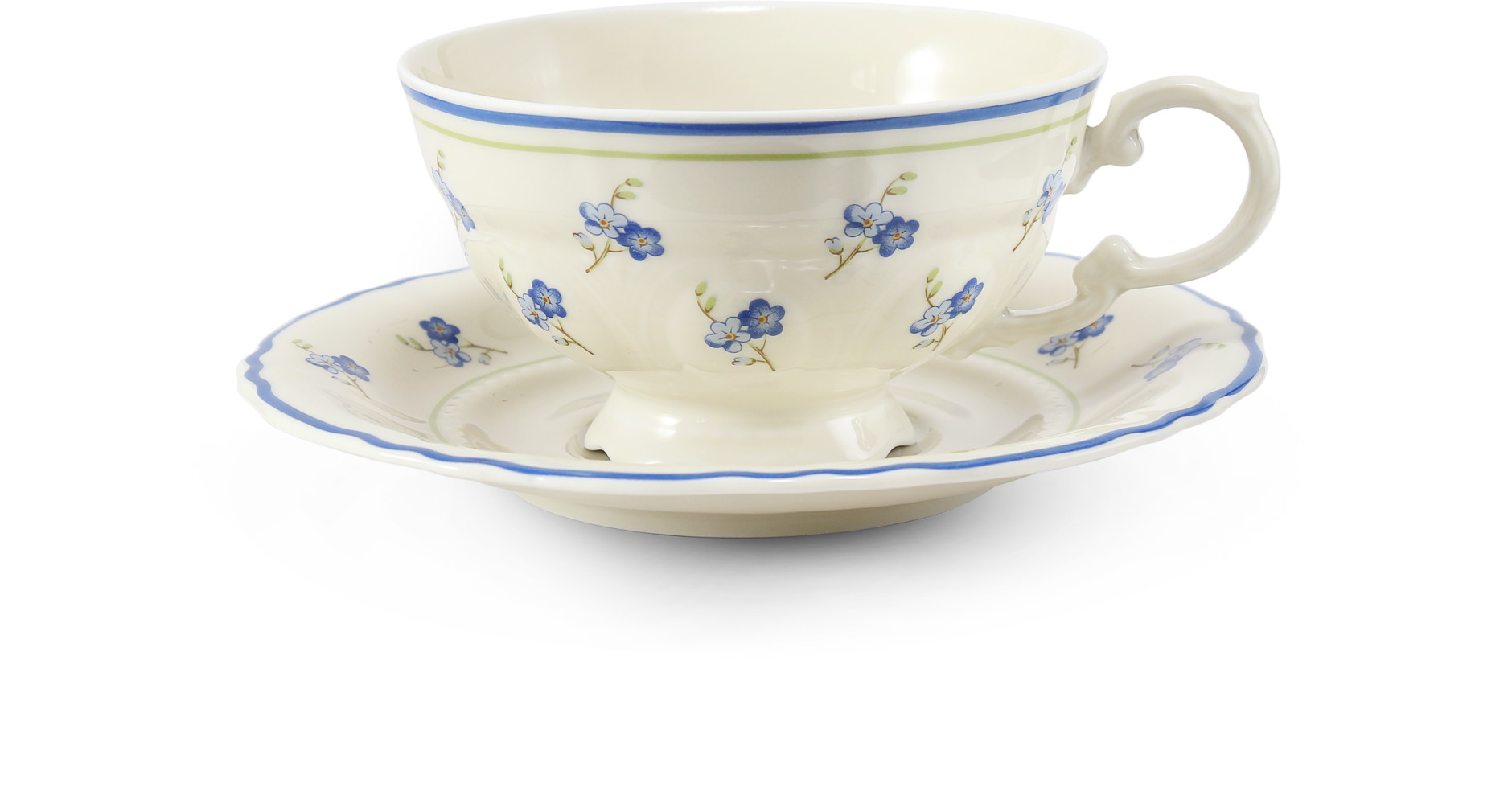 Cup and saucer 0.20 l Forget-me-nots ivory