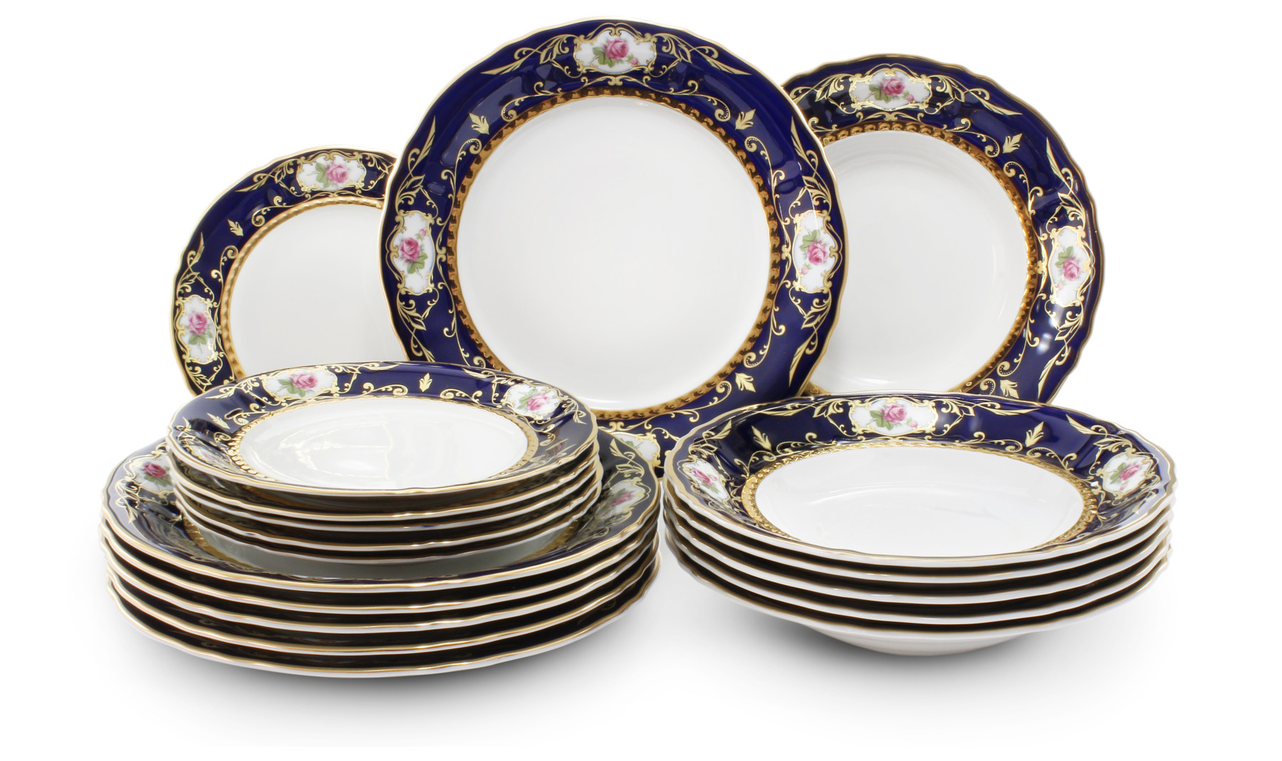 Plate set 18-piece - Cobalt and rose