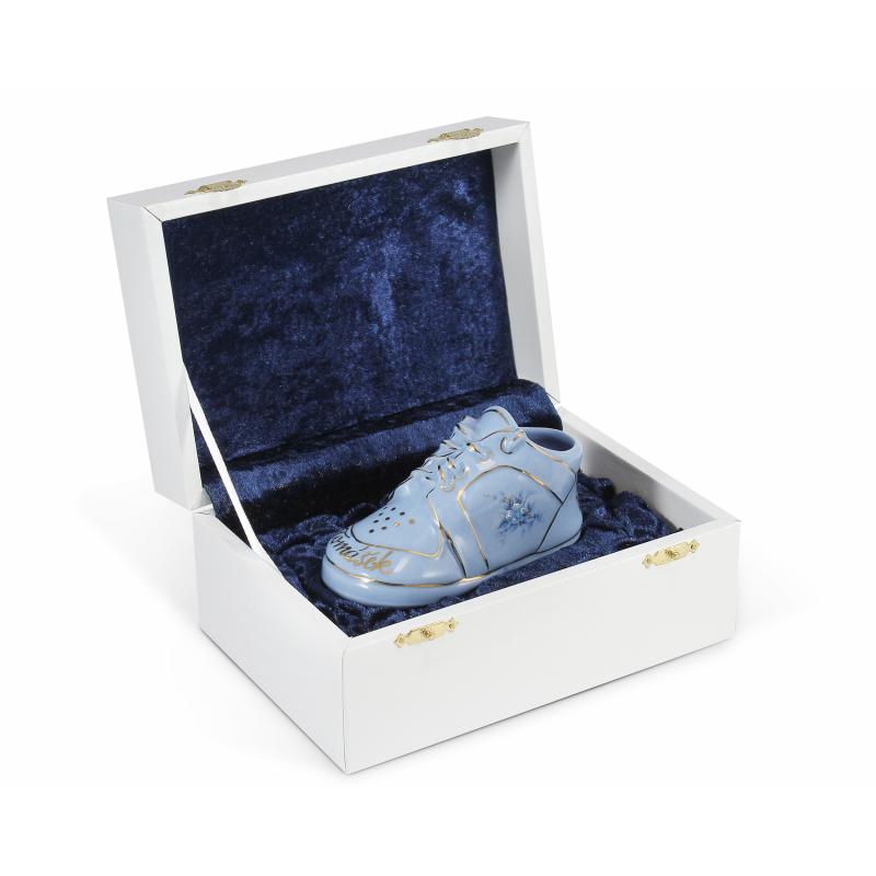Baby Boot in einer Geschenkbox blau