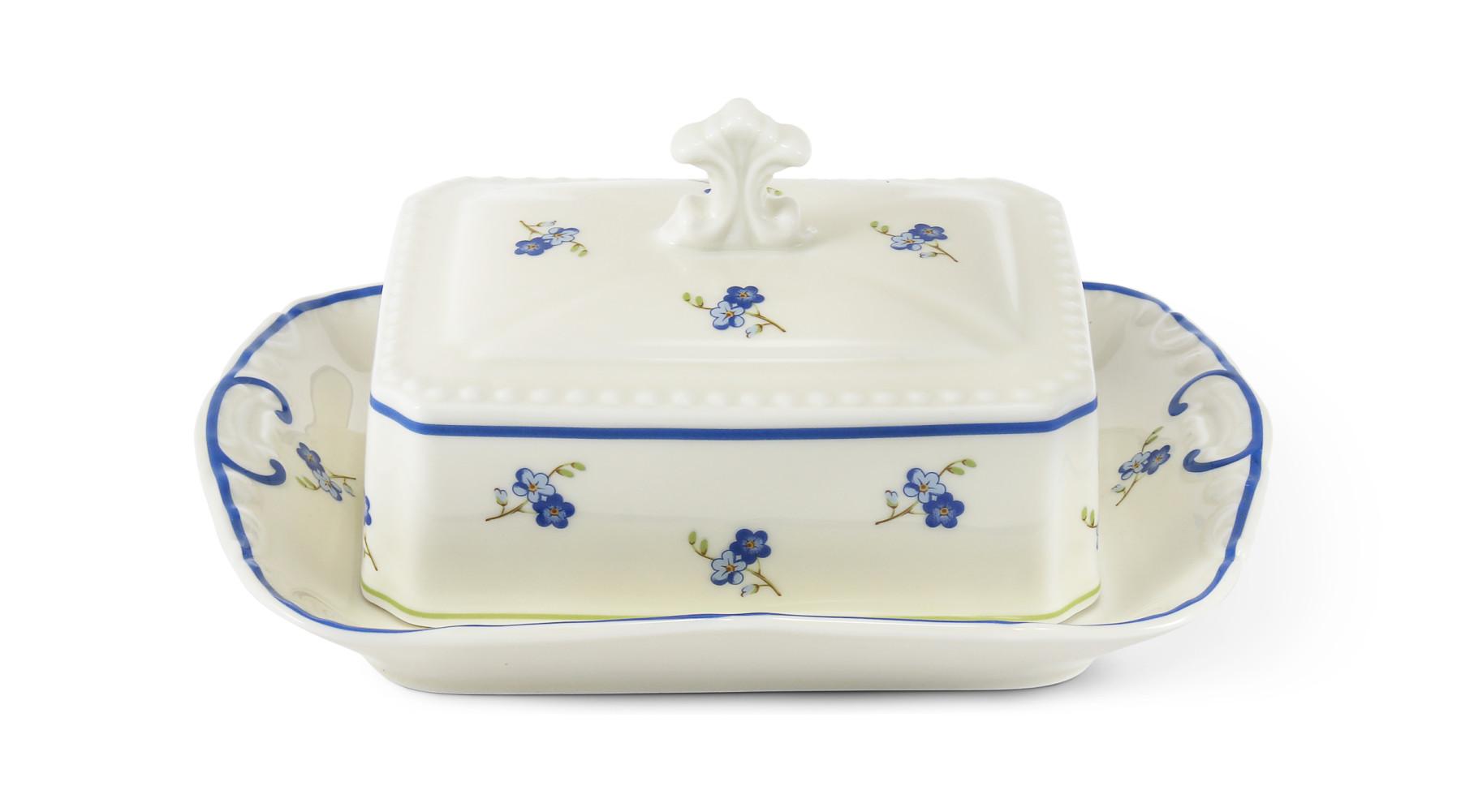 Butterdose Quadrat 250 g Vergissmeinnicht Elfenbein