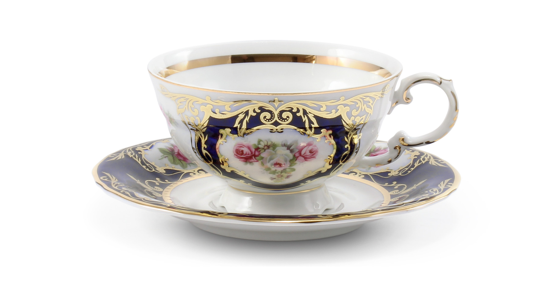 Cup and saucer Cobalt and rose