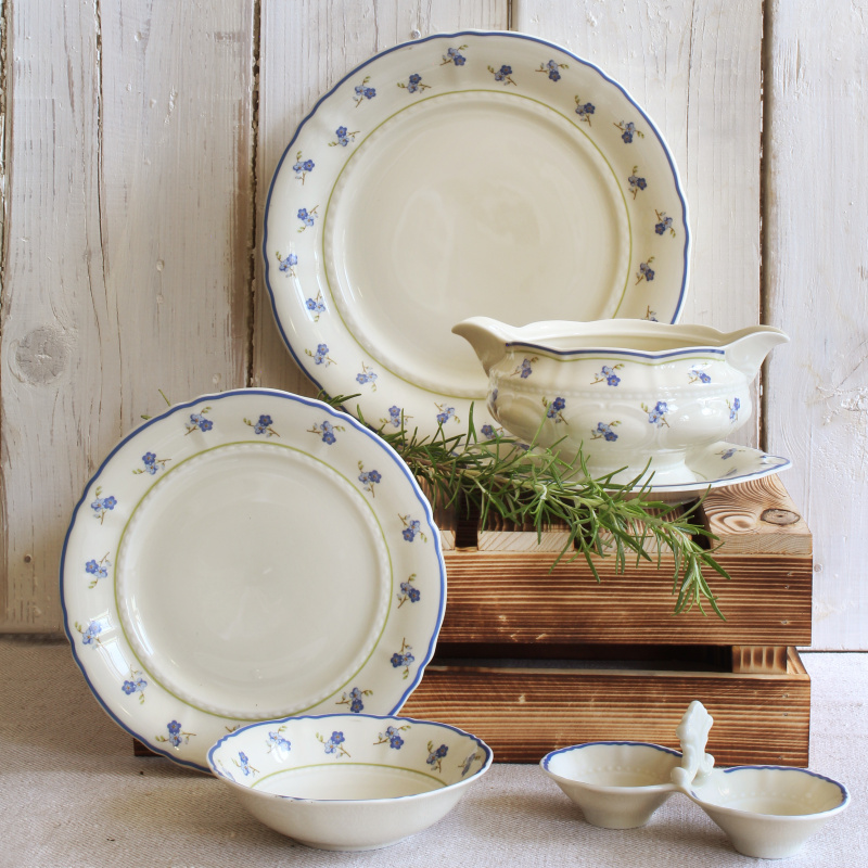 Plate set 18-piece Forget-me-nots ivory
