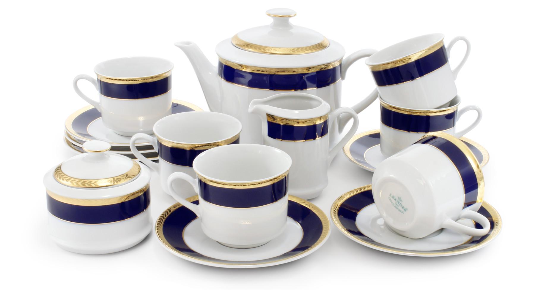 Tea set 15-piece - Cobalt and gold braid