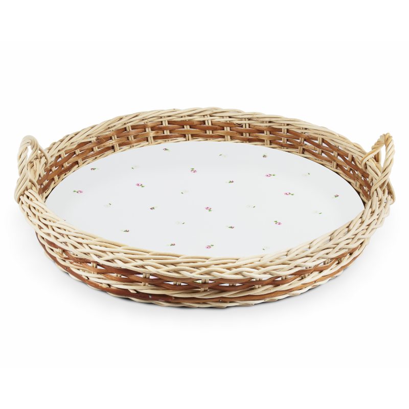 Serving tray in a wicker basket 38 cm RoseLine var.1