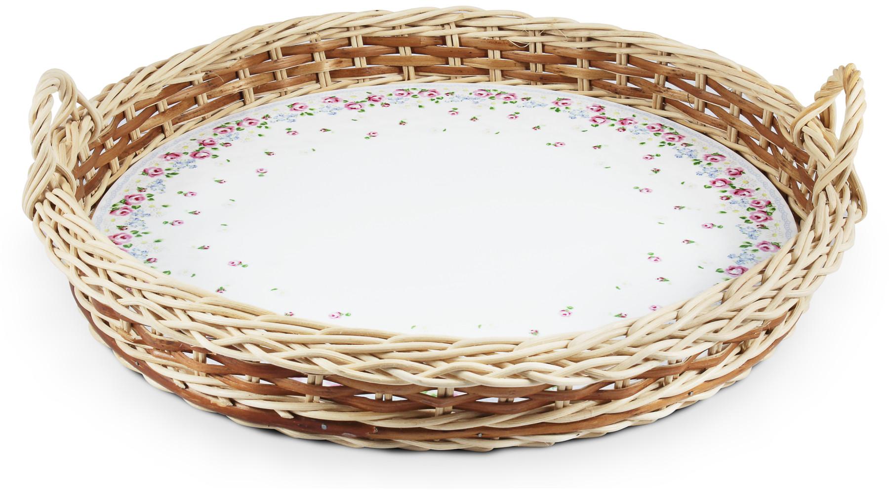 Serving tray in a wicker basket 38 cm RoseLine var.2