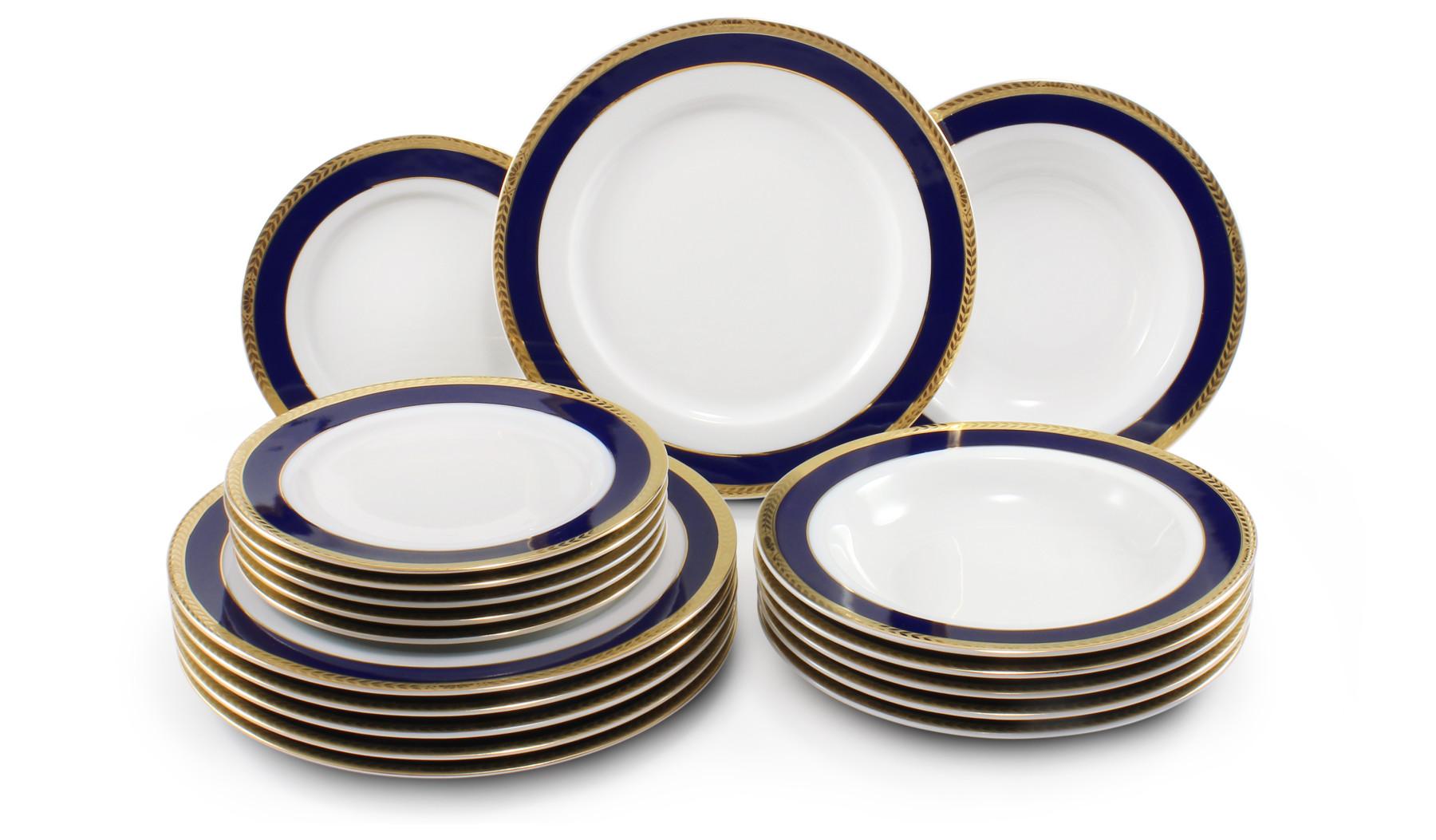 Plate set 18-piece- Cobalt and gold braid