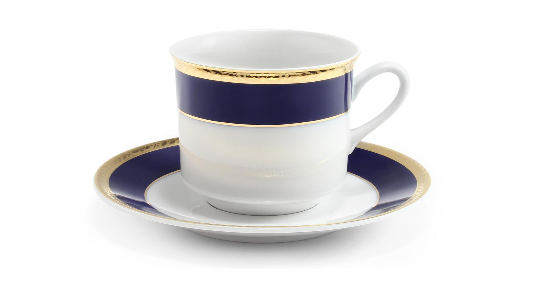 Tasse mit Untertasse Kobalt und goldene Zopf