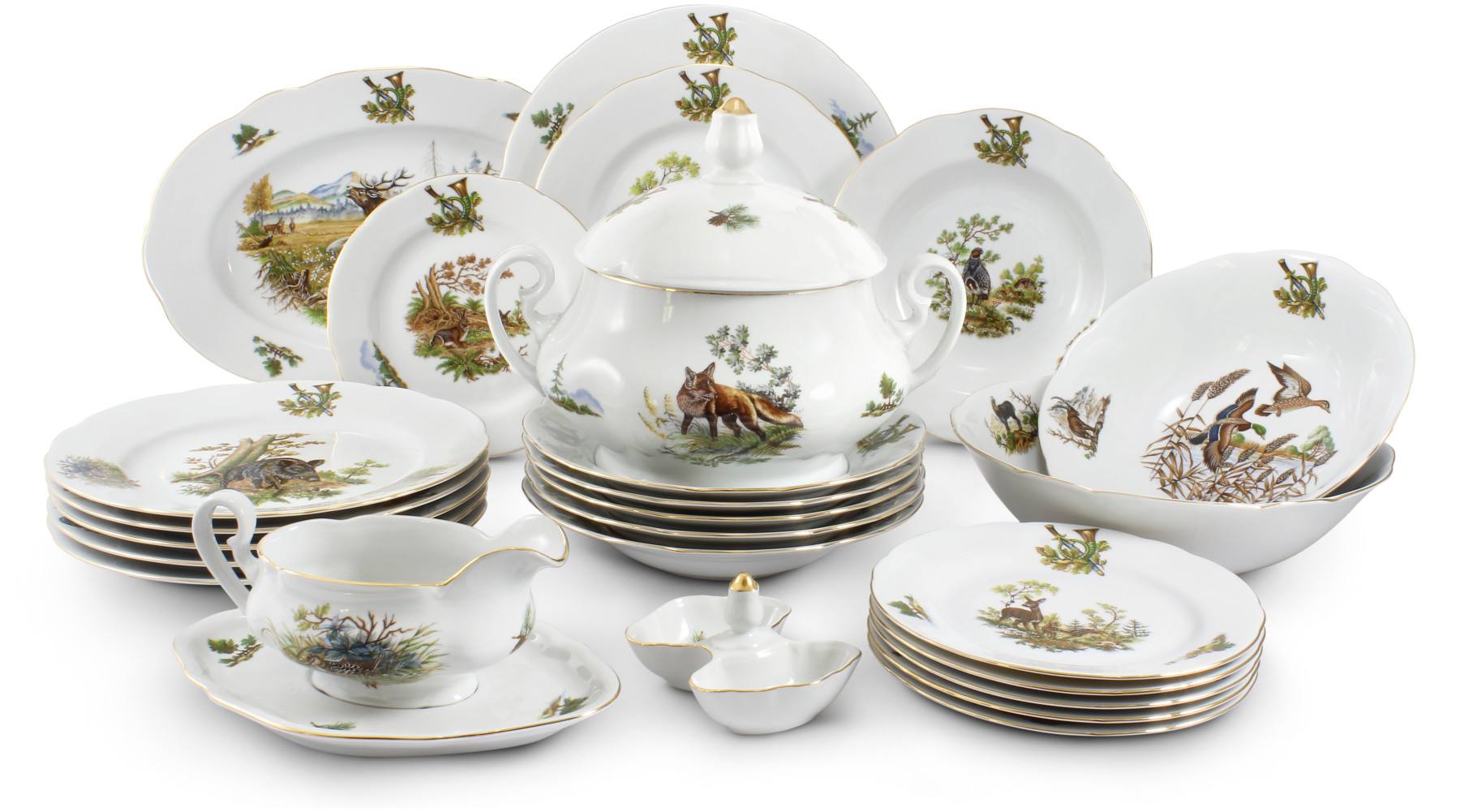 Dinner set 25-piece - Hunting motives