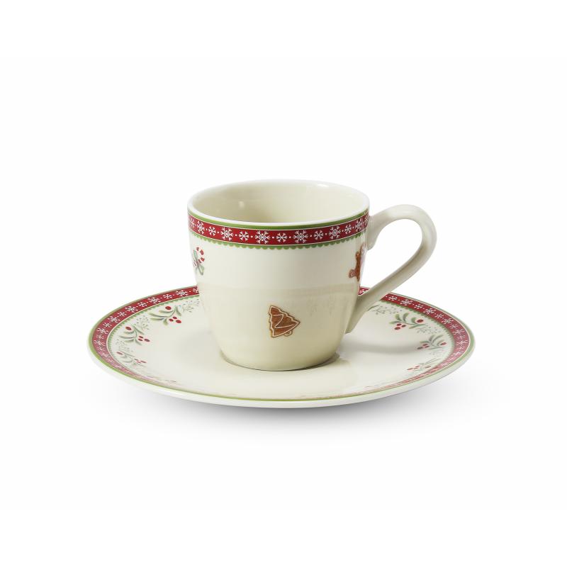 Tasse mit Untertasse 0,07 l- espresso Weihnachtslebkuchen
