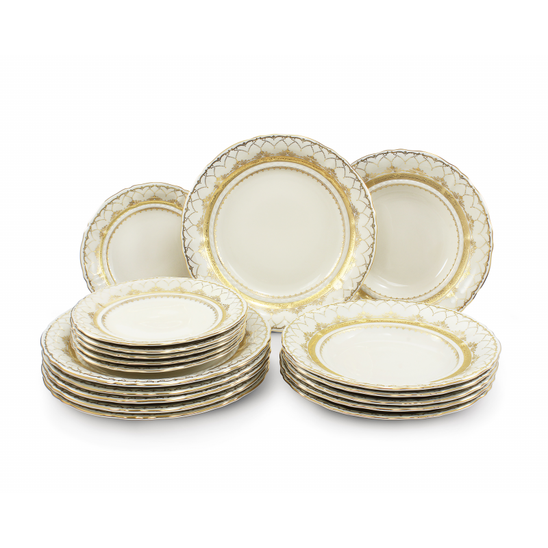 Plate set 18-piece Wedding sonata ivory