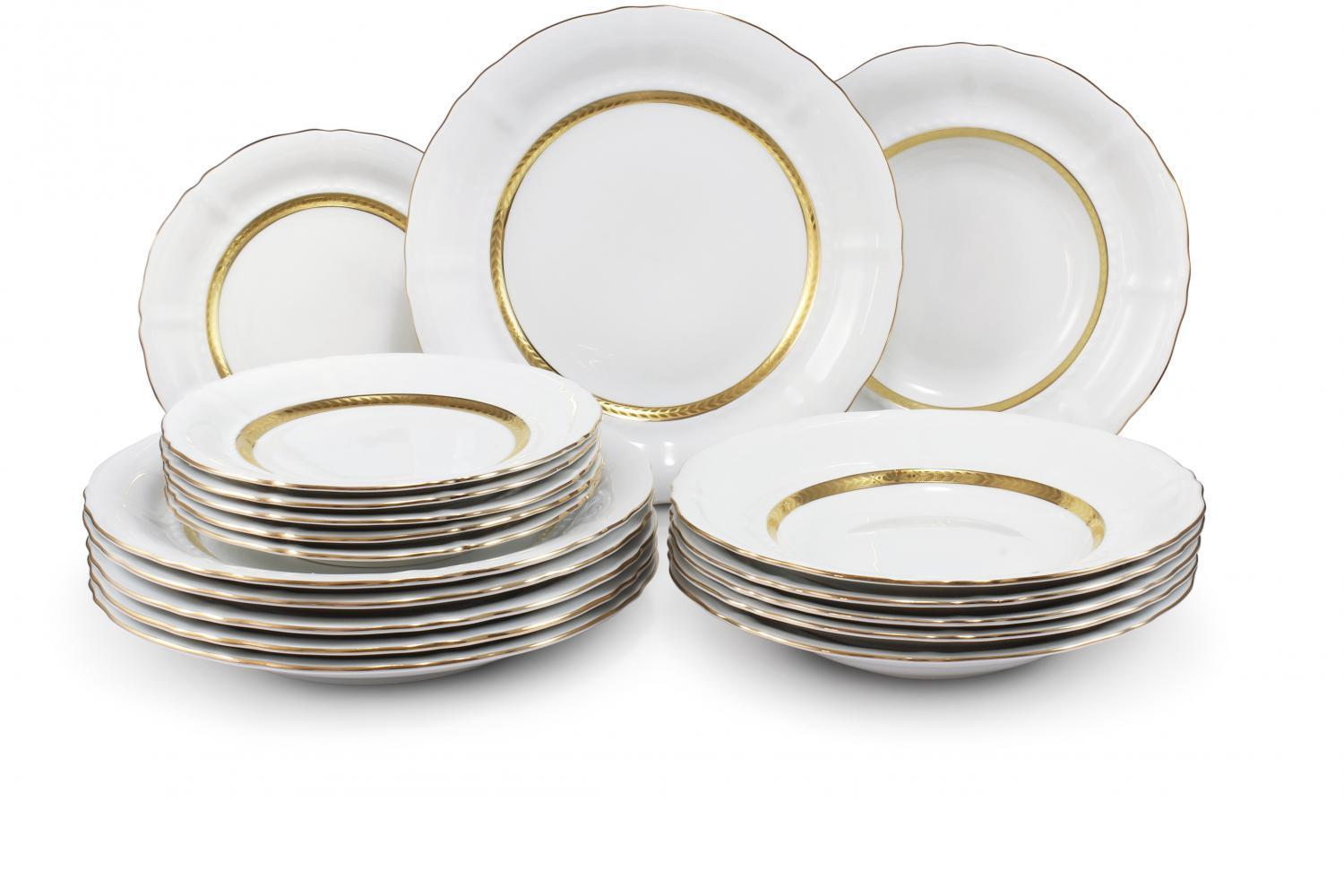 Plate set 18-piece - Gold braid
