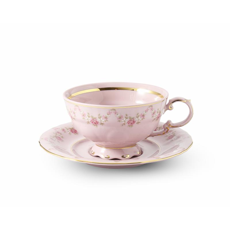 Šálek s podšálkem 0,20 l Girlanda z růží růžový porcelán