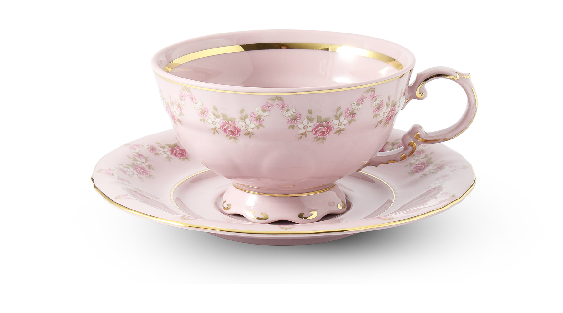 Cup and saucer 0.20 l Rose garland rose porcelain