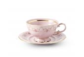 Tasse mit Untertasse 0,20 l Girlande aus Rosen rosa Porzellan