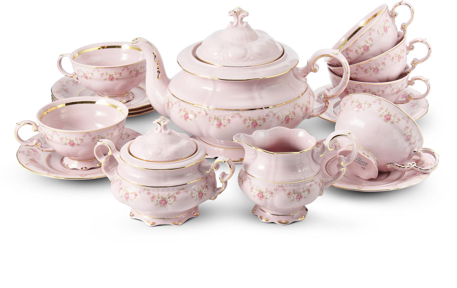 Čajová souprava 15 dílná Girlanda z růží růžový porcelán