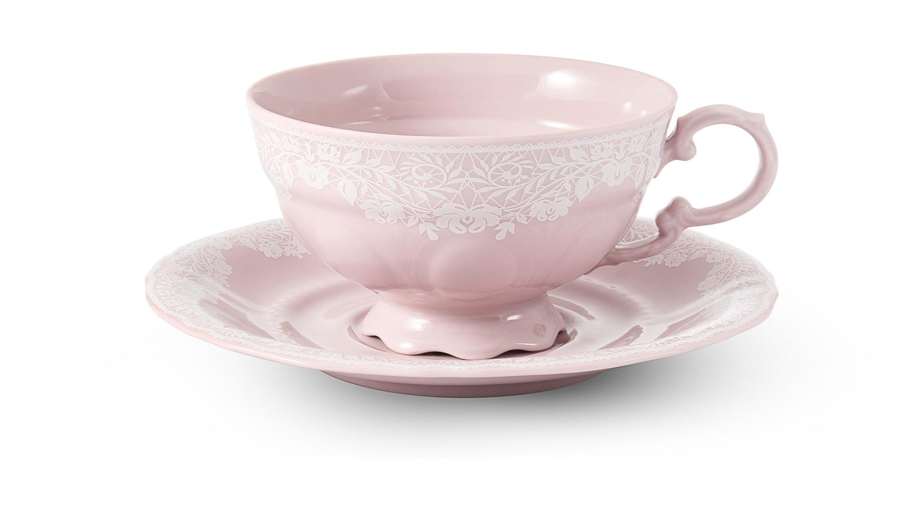 Šálek s podšálkem 0,20 l Krajka růžový porcelán