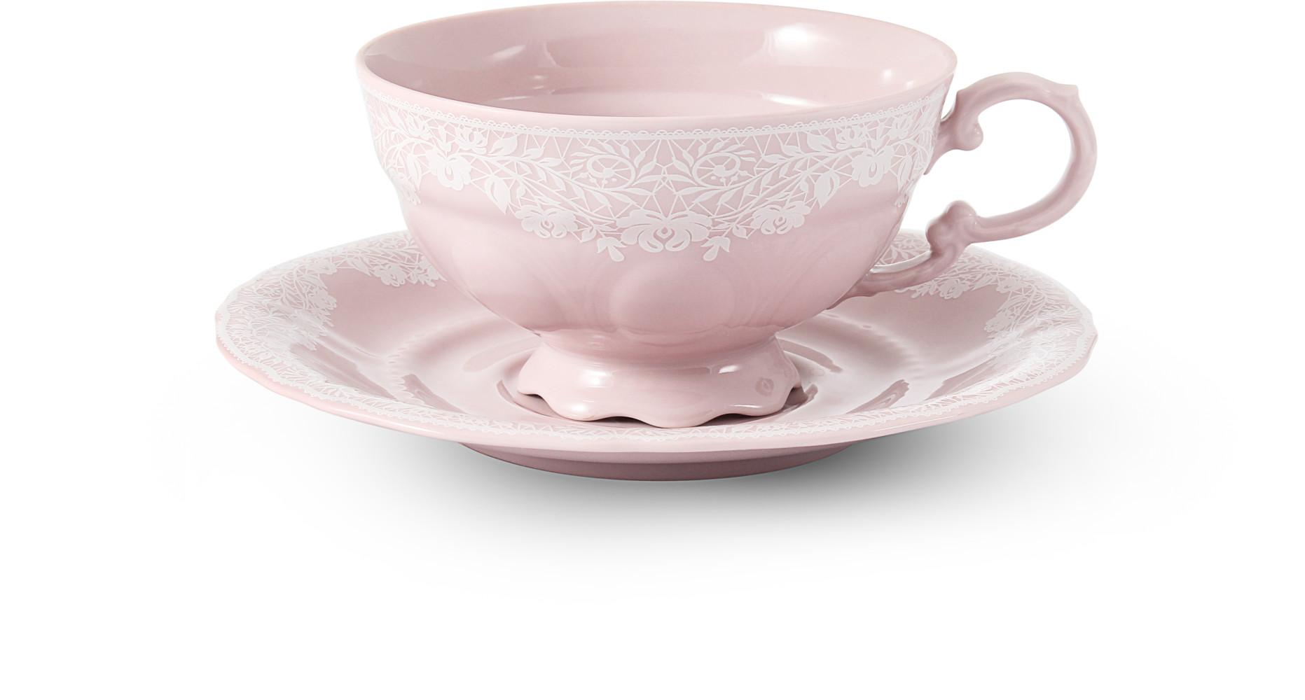 Tasse mit Untertasse 0,20 l Spitzen rosa Porzellan
