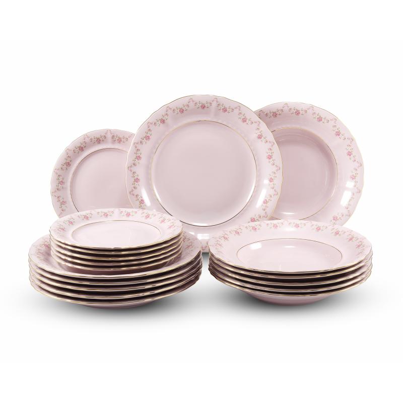 Talířová sada 18 dílná Girlanda z růží růžový porcelán