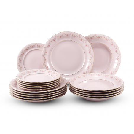 Plate set 18-piece Rose...