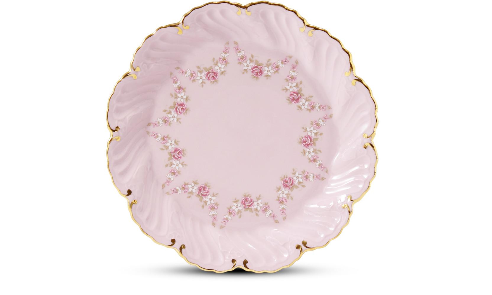 Talíř dezertní 17 cm Girlanda z růží růžový porcelán