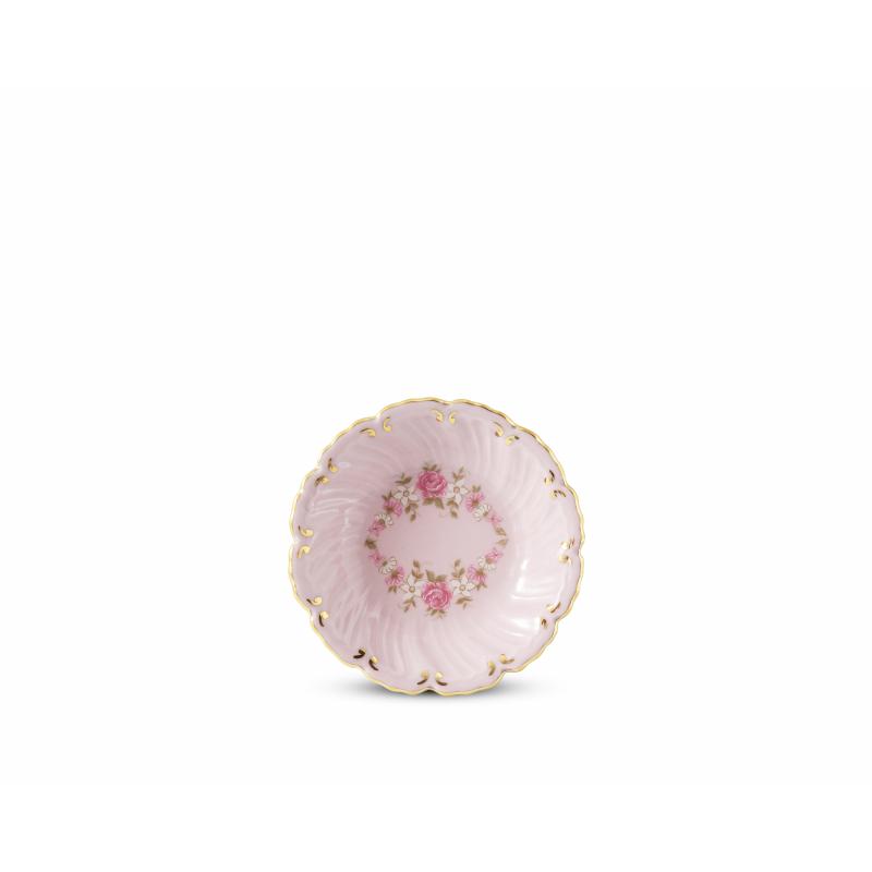 Schälchen rund tief 8 cm Girlande aus Rosen rosa Porzellan