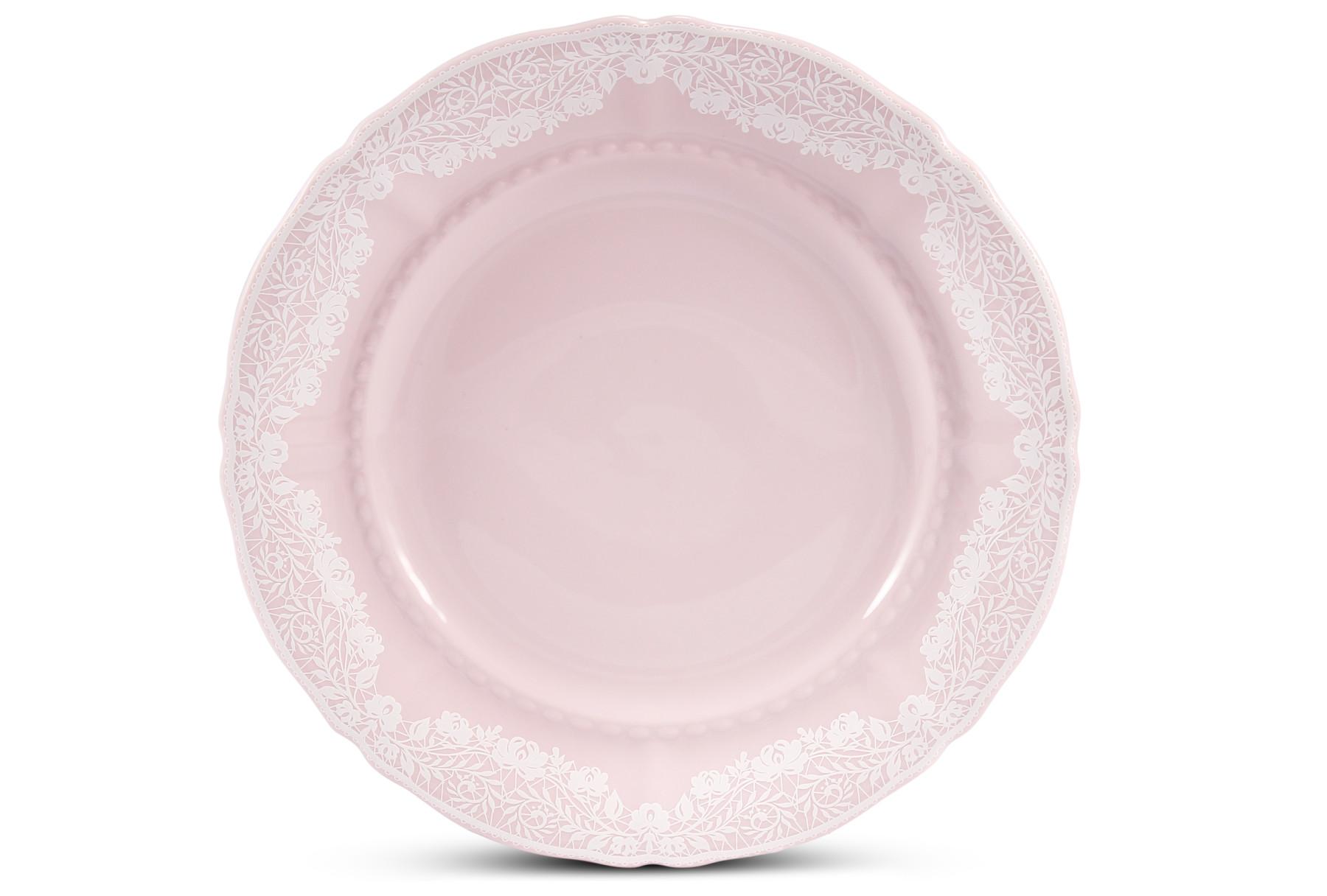 Talíř dezertní 17 cm Krajka růžový porcelán