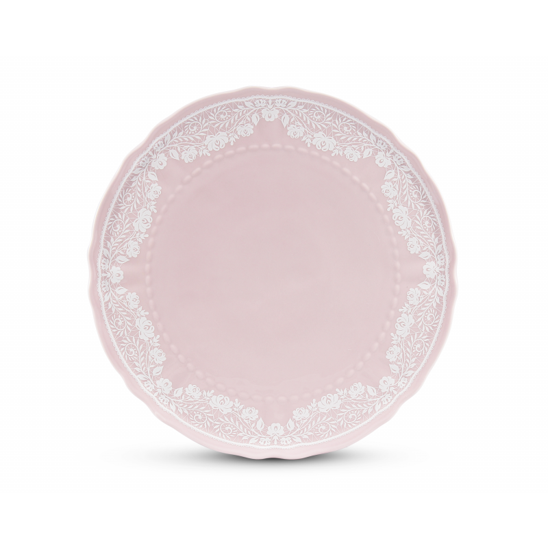 Cake plate 26 cm na nožce Lace rosa porcelain