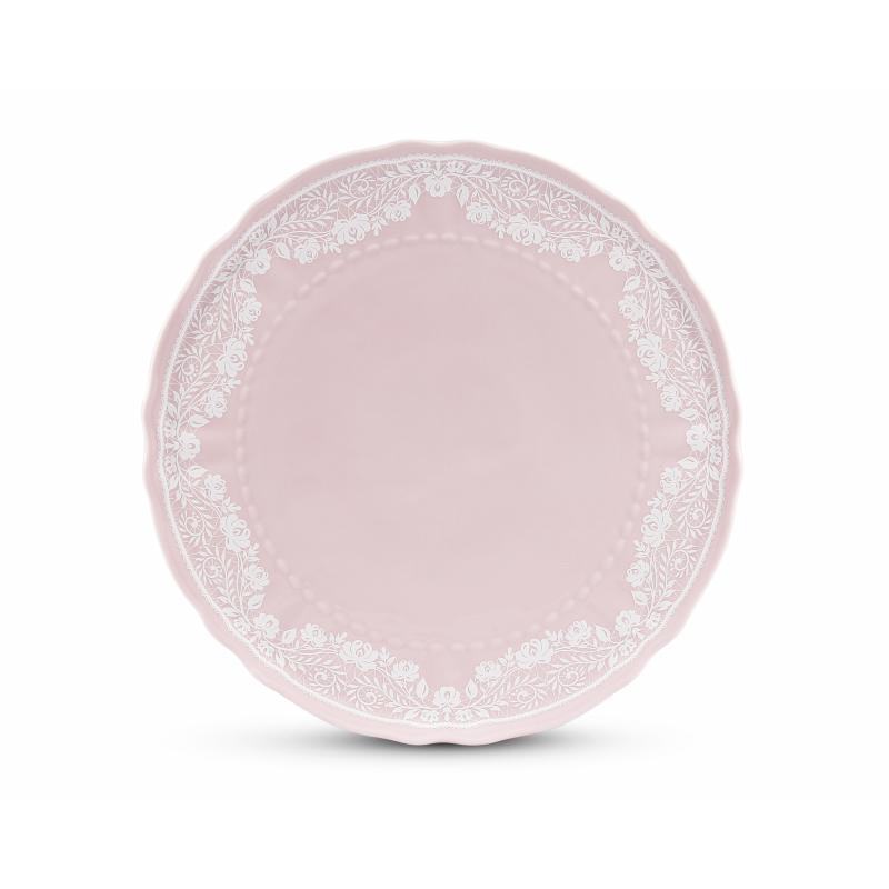 Tortenteller 26 cm Spitzen rosa Porzellan