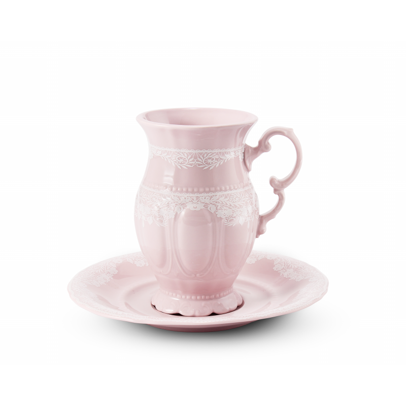 Cup 0.22 l with cappuccino saucer Lace rosa porcelain