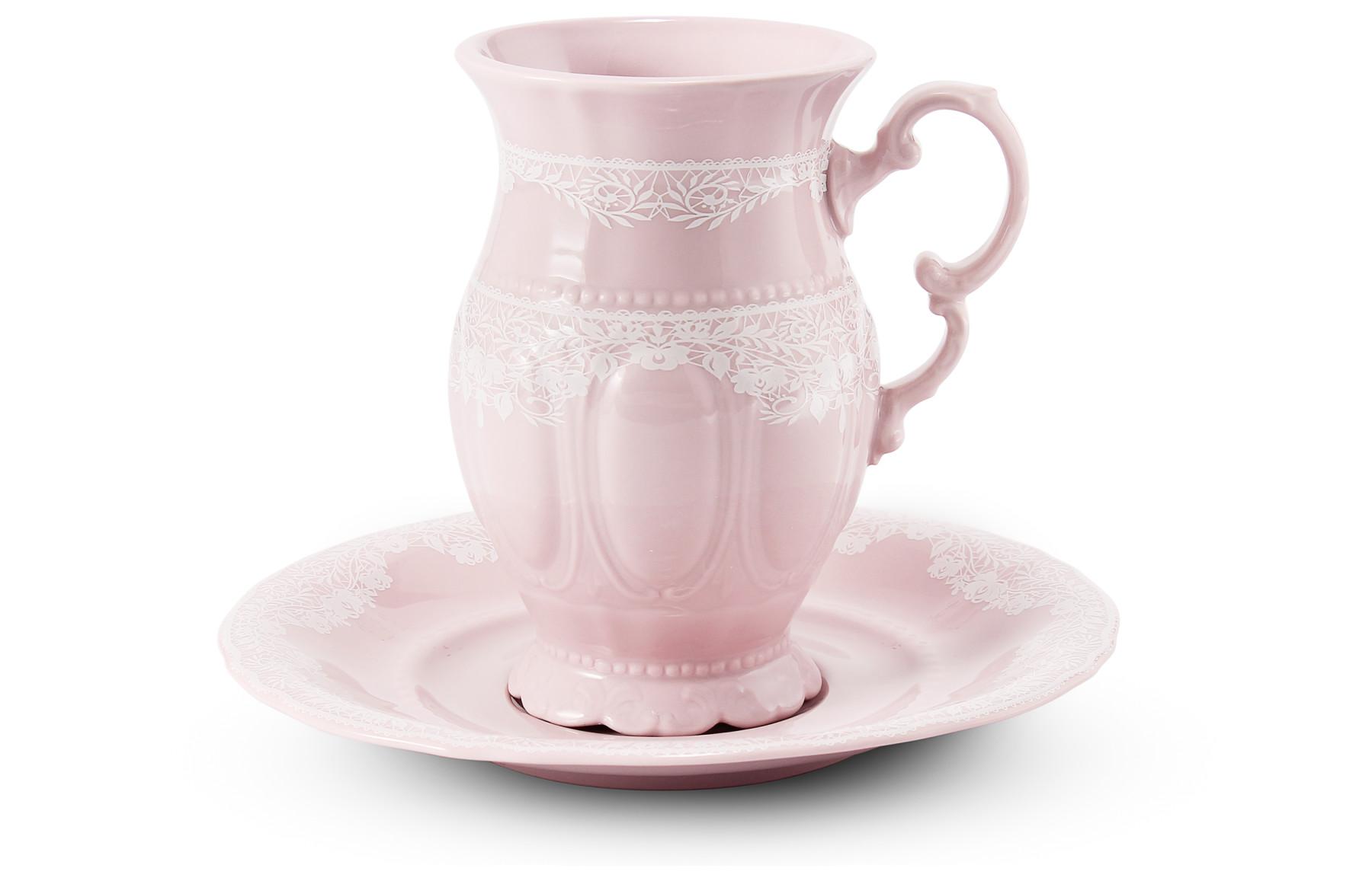 Tasse mit Untertasse 0,22l cappuccino Spitzen rosa Porzellan