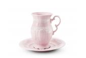 Šálek 0,22 l s podšálkem cappuccino Krajka růžový porcelán