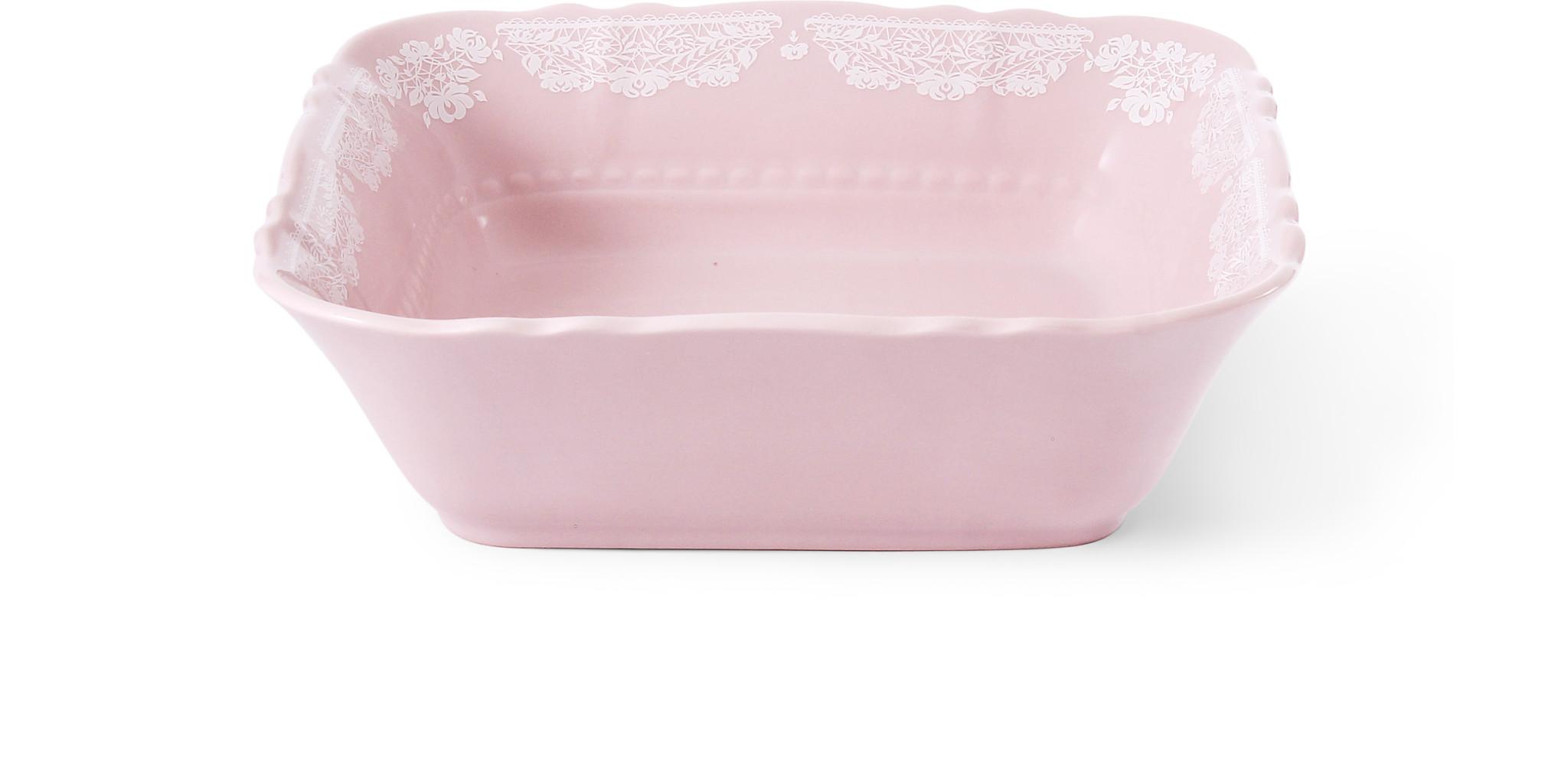 Small bowl square 17 cm Lace rosa porcelain