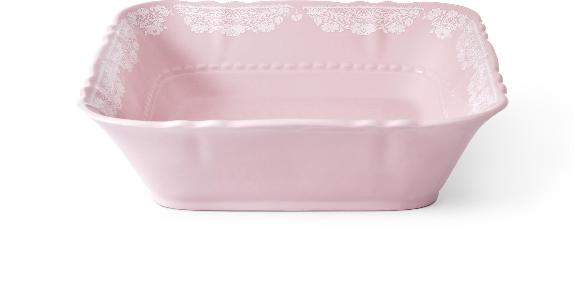 Miska čtyřhranná 21 cm Krajka růžový porcelán