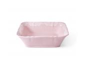 Small bowl square 21 cm Lace rosa porcelain