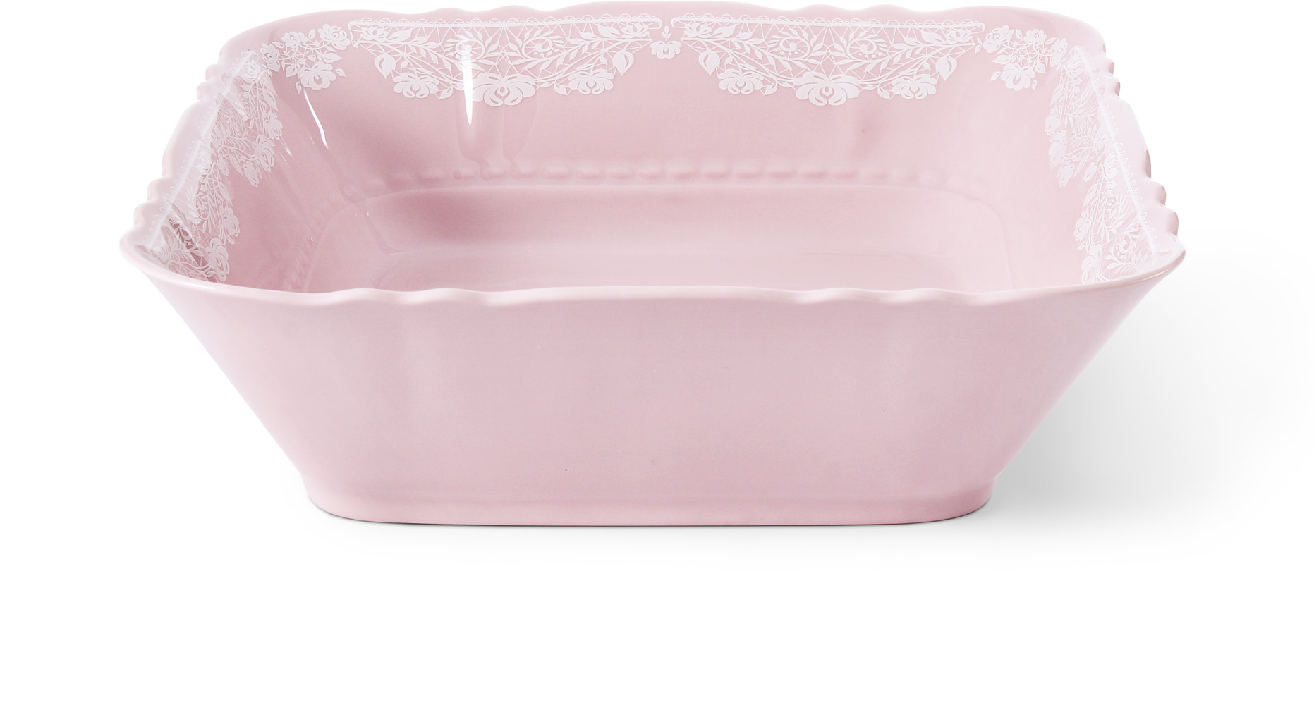 Small bowl square 25 cm Lace rosa porcelain