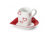"""Tasse mit Untertasse 0,20l """"Herz"""" Valentinstag Var.1"""