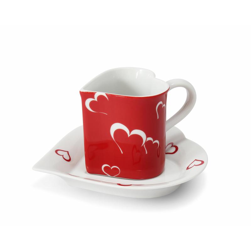 """Tasse mit Untertasse 0,20l """"Herz"""" Valentinstag Var.2"""