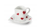 """Tasse mit Untertasse 0,20l """"Herz"""" Valentinstag Var.3"""