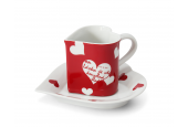 Cup and saucer 0.20 l ,,HEART,, Valentine var.4