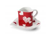 """Tasse mit Untertasse 0,20l """"Herz"""" Valentinstag Var.4"""