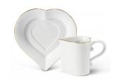"""Tasse mit Untertasse 0,20l """"Herz"""" Valentinstag Var.5"""