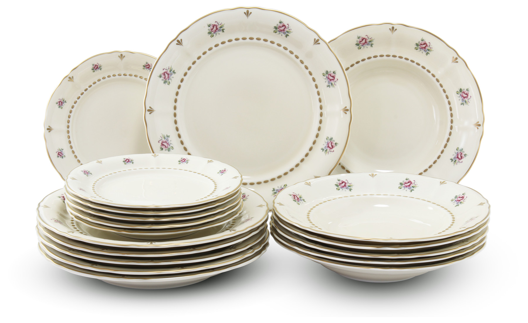 Plate set 18 pieces Bohemian rose ivory