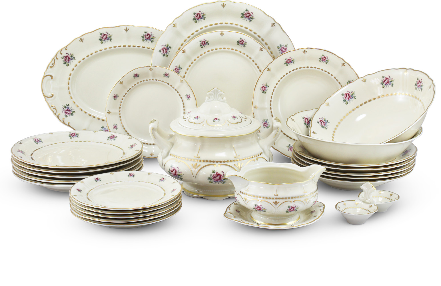 Dining set 25 pieces Bohemian rose ivory